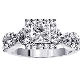 14k White Gold 1 3/4ct TDW Princess Diamond Braided Engagement Ring (F-G, SI1-SI2)