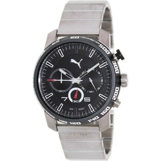 Puma Men's 'Motor' Black Dial Steel Chronograph Watch