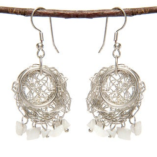 Silverplated Brass Wire Uncut Stone Earrings (India)