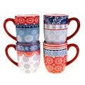 Certified International Americana Rooster Mug Set of 4