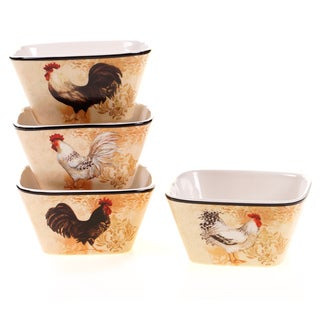 Certified International Avignon Rooster Ice Cream Bowls (Set of 4)