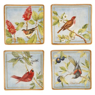 Certified International 4-piece Botanical Birds Ceramic Canape Plate