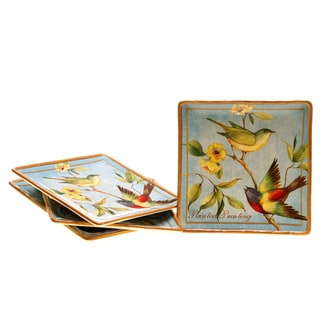 Certified International Botanical Birds Dinner Plate, Set of 4