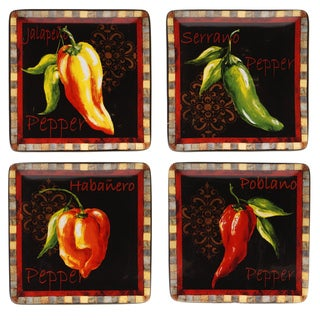 Certified International Chili Pepper Canape Plate (Set of 4)