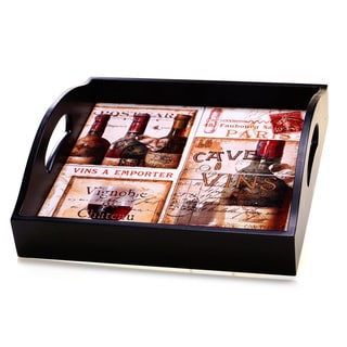 Certified International French Cellar 4-Tile Square Wood Tray with Handles