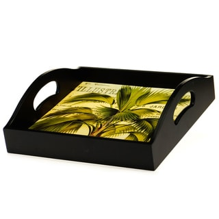 Certified International Las Palmas 4-Tile Square Wood Tray with Handles