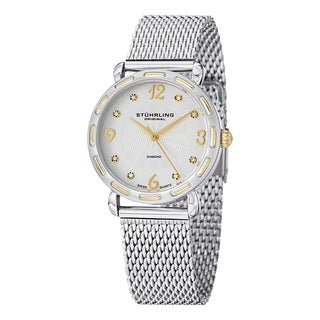 Stuhrling Original Women's Couture Quartz Diamond Stainless Steel Mesh Band Watch