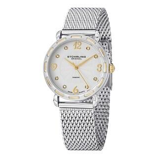 Stuhrling Original Women's Couture Quartz Diamond Stainless Steel Mesh Band Watch