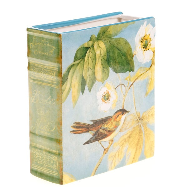 Certified International Botanical Birds 3-D Bookcase Vase