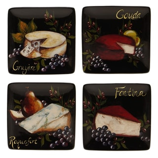 Certified International Wine and Cheese Party Canape Plate (Set of 4)