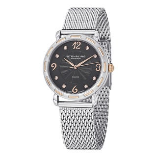 Stuhrling Original Women's Couture Quartz Diamond SS Mesh Band Watch with Gray Dial
