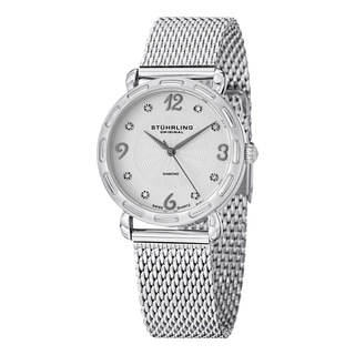 Stuhrling Original Women's Couture Quartz Diamond SS Mesh Band Watch with White Dial