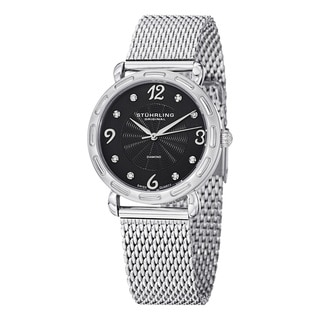 Stuhrling Original Women's Couture Quartz Diamond SS Mesh Band Watch