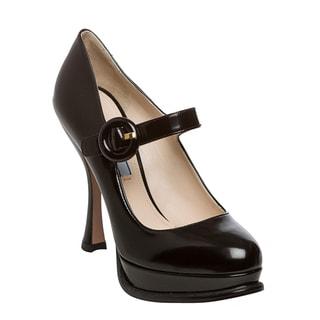 Prada Women's Black Leather Mary Jane Pumps