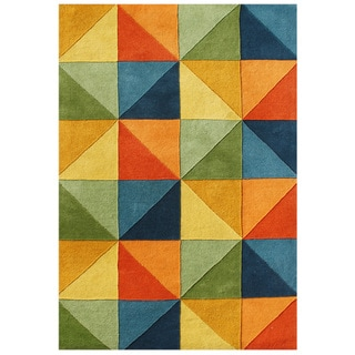 Alliyah Handmade Multi-colored Squares Zealand Blend Wool Rug (9' x 12')