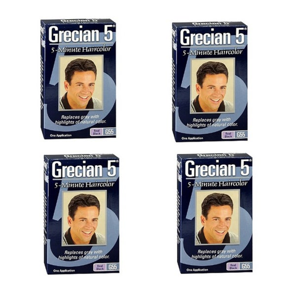 Grecian 5 Men's 5-Minute Haircolor 'G55 Real Black' (Pack of 4)