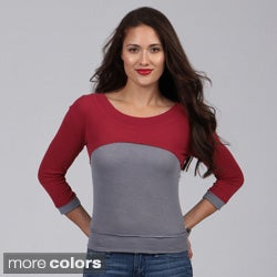 Derek Heart Juniors 3/4-sleeve Colorblock Top