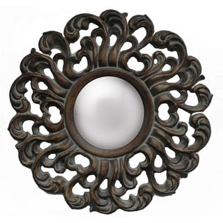 Traditional Decorative Round Framed Mirror in Antique Brushed Walnut