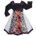 AnnLoren Girls Boutique Floral Zebra Polka-dot Panel Party Dress