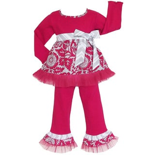 AnnLoren Girls Boutique Pink/ Grey Blossom 2-piece Outfit