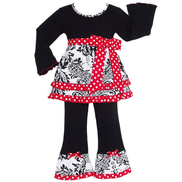 AnnLoren Girls Boutique Damask Dots Red Bow Holiday Outfit
