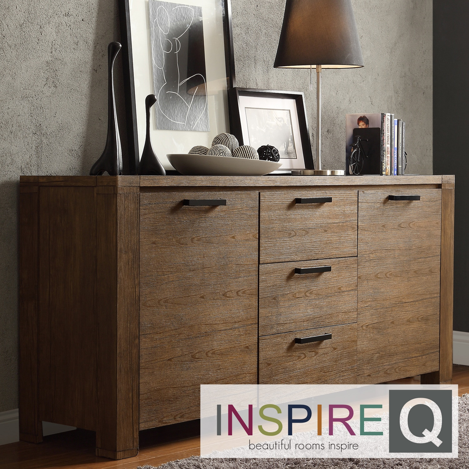 INSPIRE Q Catalpa Walnut Finish Weathered Highboard