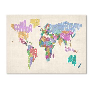 Michael Tompsett 'World Text Map 5' Canvas Art