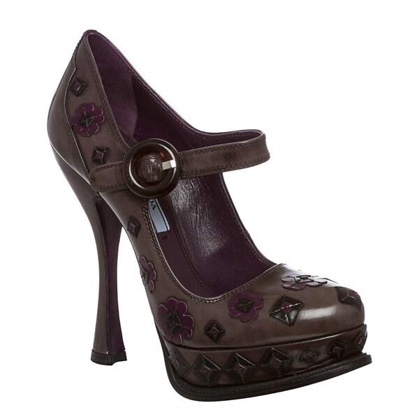 Prada Women's Purple Flower-embossed Leather Pumps