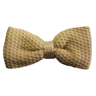 Dmitry Men's Ivory Italian Knitted Silk Bow Tie
