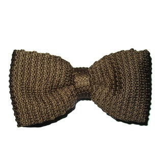 Dmitry Men's Light Brown Italian Knitted Silk Bow Tie