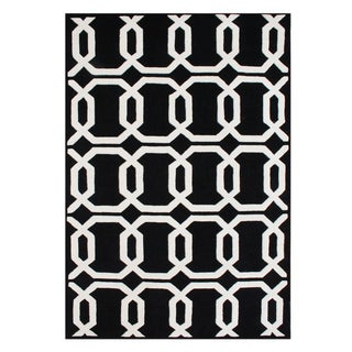 Alliyah Handmade Tufted 'Floridly' Black Wool Rug (9' x 12')