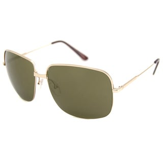 Balenciaga Men's/Unisex BAL0038 Gold/Brown Rectangular Sunglasses