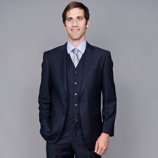 Giorgio Fiorelli Men's Navy Shadow Stripe 2-Button Vested Suit