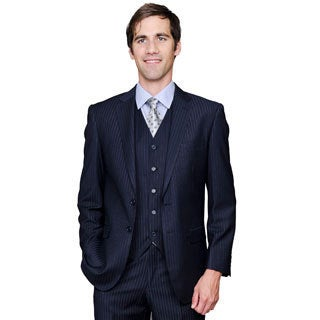 Men's Navy Shadow Stripe 2-Button Vested Suit