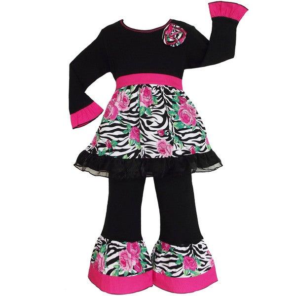 Boutique AnnLoren Girls Zebra Rose 2-piece Outfit