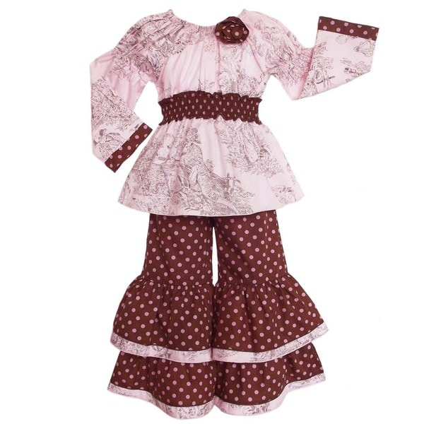 AnnLoren Boutique Girls Toile/ Dots 2-piece Outfit