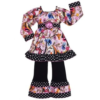 AnnLoren Girls Cotton Butterfly/ Polka Dots 2-piece Set