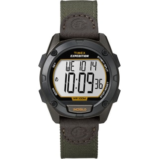 Timex Men's T49947 Expedition Digital CAT Green Nylon/ Leather Strap Watch
