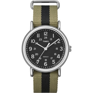 Timex Unisex 'Weekender' Olive/Black Stripe Slip-Thru Nylon Strap Watch