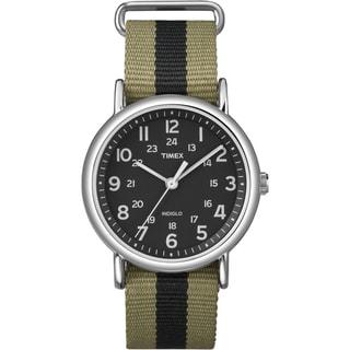 Timex T2P2369J Unisex 'Weekender' Olive/ Black Stripe Slip-Thru Nylon Strap Watch