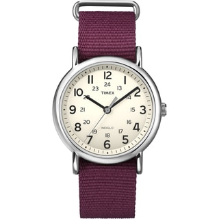 Timex Unisex 'Weekender' Dark Red Slip-Thru Nylon Strap Watch