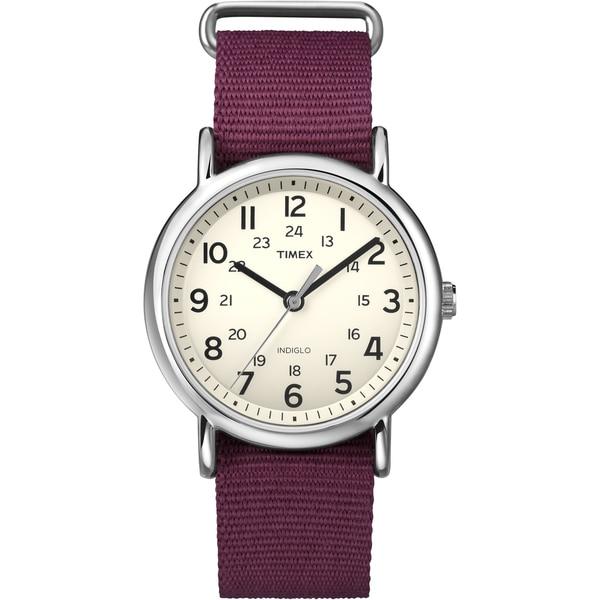 Timex Unisex 'Weekender' Dark Red Slip-Thru Nylon Strap Watch