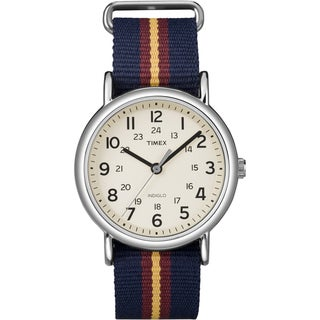Timex Unisex 'Weekender' Blue/Maroon/Gold Stripe Slip-Thru Nylon Strap Watch