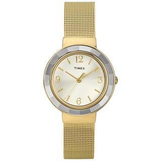 Timex T2P197KW Women's Fashion Goldtone Mesh Bracelet Dress Watch