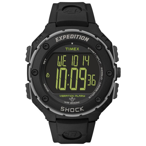 Timex Men's T49950 'Expedition Shock XL' Vibrating Alarm Black Resin Strap Watch 11352258