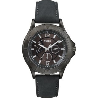 Timex Men's Fashion Retrograde Grey Leather Strap Watch