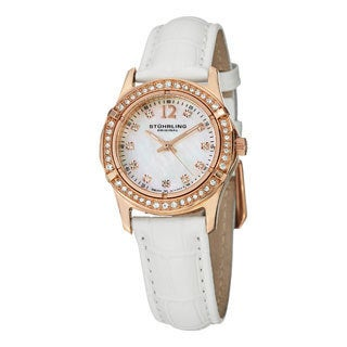 Stuhrling Original Women's Farina Quartz Crystal Leather Strap Watch