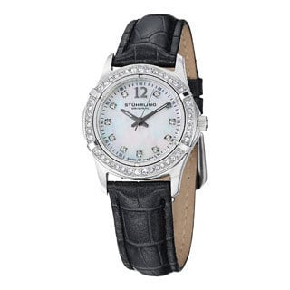 Stuhrling Original Women's Farina Quartz Swarovski Crystal Leather Strap Watch