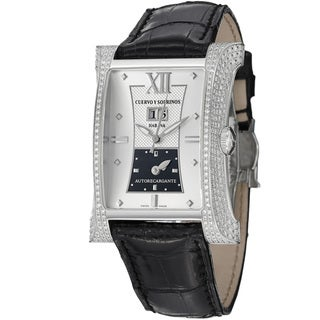 Cuervo Y Sobrinos Men's 'Esplendidos DT' Silver Dial Diamond Watch