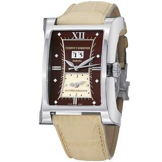 Cuervo Y Sobrinos Men's 2451.1CT 'Esplendidos DT' Cream Strap Dual Time Watch